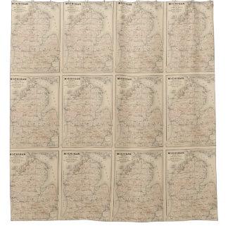 Mapa del vintage de Michigan (1873) 2 Cortina De Baño