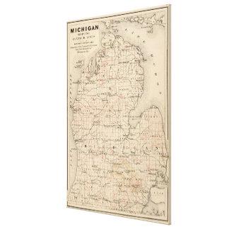 Mapa del vintage de Michigan (1873) 2 Impresión En Tela