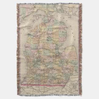 Mapa del vintage de Michigan (1873) Manta