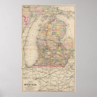 Mapa del vintage de Michigan (1873) Póster