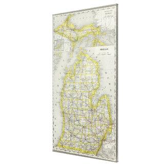 Mapa del vintage de Michigan (1889) Lienzo Envuelto Para Galerias