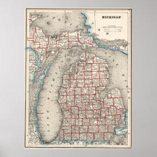 Mapa del vintage de Michigan (1893) Posters