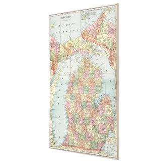 Mapa del vintage de Michigan (1901) 2 Lona Estirada Galerías
