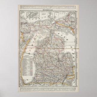 Mapa del vintage de Michigan (1901) 3 Impresiones