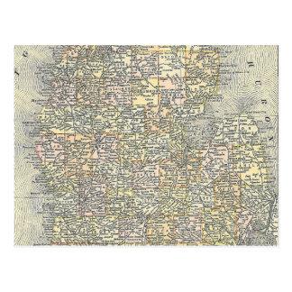 Mapa del vintage de Michigan (1901) Postales