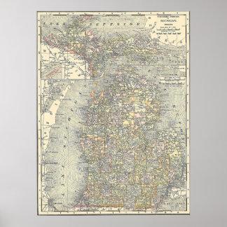 Mapa del vintage de Michigan (1901) Póster
