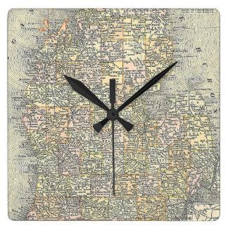 Mapa del vintage de Michigan (1901) Reloj Cuadrado