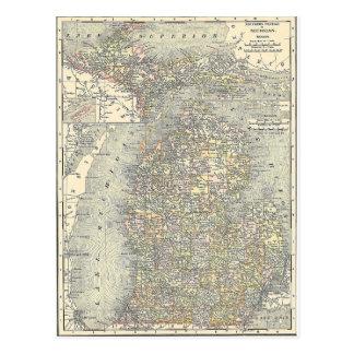 Mapa del vintage de Michigan (1901) Postal