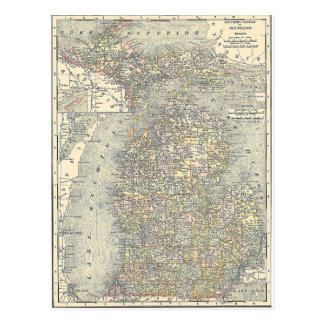 Mapa del vintage de Michigan (1901) Tarjetas Postales