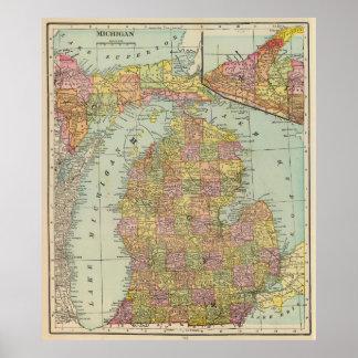 Mapa del vintage de Michigan (1909) Póster
