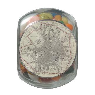 Mapa del vintage de Milano Italia (1832) Frascos De Cristal