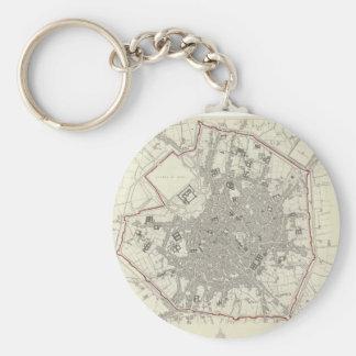 Mapa del vintage de Milano Italia (1832) Llavero Redondo Tipo Pin
