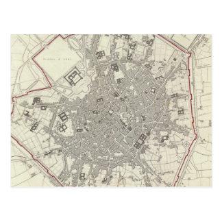 Mapa del vintage de Milano Italia (1832) Tarjeta Postal