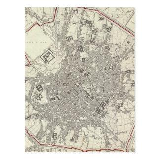 Mapa del vintage de Milano Italia (1832) Tarjetas Postales