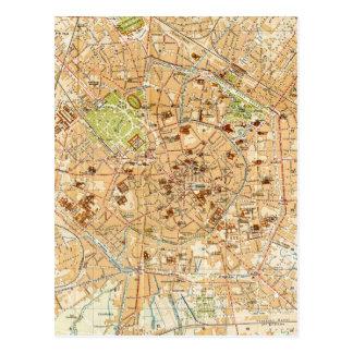 Mapa del vintage de Milano Italia (1914) Tarjeta Postal