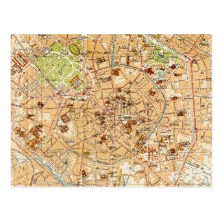 Mapa del vintage de Milano Italia (1914) Tarjetas Postales