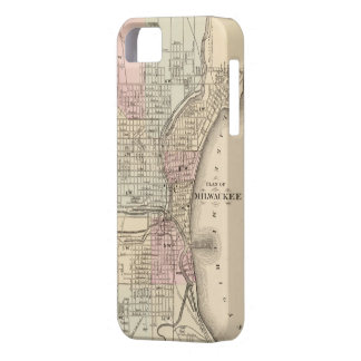 Mapa del vintage de Milwaukee (1880) iPhone 5 Case-Mate Funda