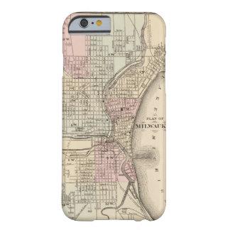 Mapa del vintage de Milwaukee (1880) Funda De iPhone 6 Barely There