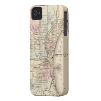 Mapa del vintage de Milwaukee (1880) iPhone 4 Case-Mate Protector