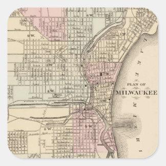 Mapa del vintage de Milwaukee (1880) Pegatina Cuadrada