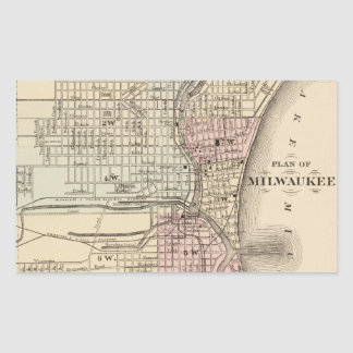 Mapa del vintage de Milwaukee (1880) Pegatina Rectangular