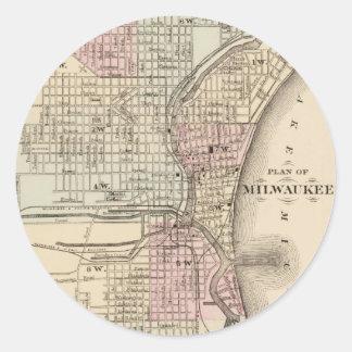Mapa del vintage de Milwaukee (1880) Pegatina Redonda