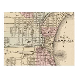 Mapa del vintage de Milwaukee (1880) Postal