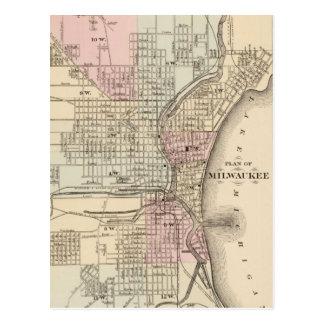 Mapa del vintage de Milwaukee (1880) Postales