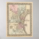 Mapa del vintage de Milwaukee (1880) Póster