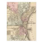 Mapa del vintage de Milwaukee (1880) Tarjeta Postal