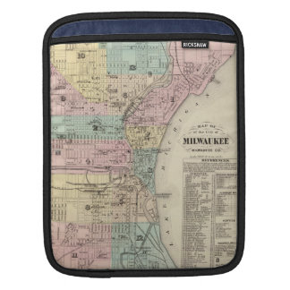 Mapa del vintage de Milwaukee Wisconsin (1878) Funda Para iPads