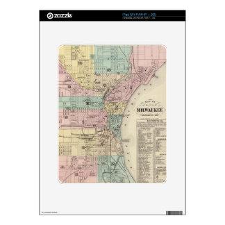 Mapa del vintage de Milwaukee Wisconsin (1878) iPad Calcomanía