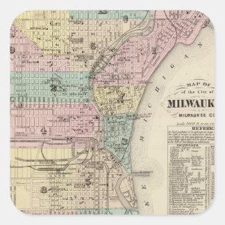 Mapa del vintage de Milwaukee Wisconsin (1878) Pegatina Cuadrada