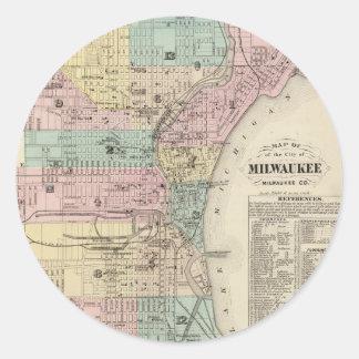 Mapa del vintage de Milwaukee Wisconsin (1878) Pegatina Redonda