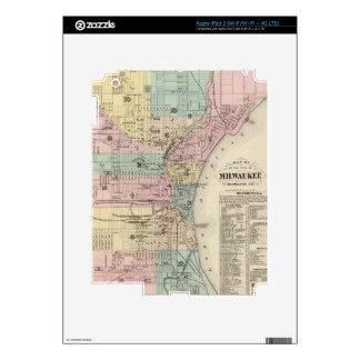 Mapa del vintage de Milwaukee Wisconsin (1878) Pegatinas Skins Para iPad 3