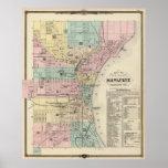 Mapa del vintage de Milwaukee Wisconsin (1878) Póster