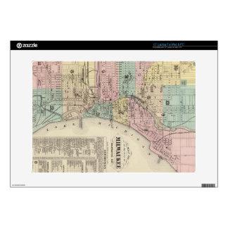 Mapa del vintage de Milwaukee Wisconsin (1878) Skins Para 38,1cm Portátil