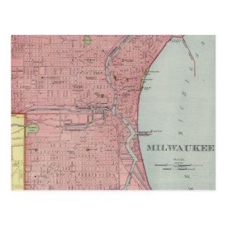 Mapa del vintage de Milwaukee Wisconsin (1903) Tarjetas Postales