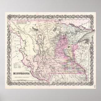 Mapa del vintage de Minnesota (1855) Impresiones