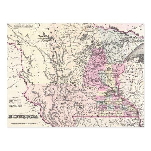 Mapa del vintage de Minnesota (1855) Postales