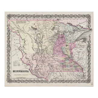 Mapa del vintage de Minnesota (1855) Póster