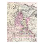 Mapa del vintage de Minnesota (1855) Tarjetas Postales