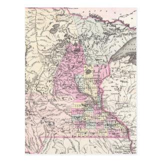 Mapa del vintage de Minnesota (1855) Postal