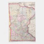 Mapa del vintage de Minnesota (1864) Toallas De Cocina