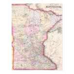 Mapa del vintage de Minnesota (1864) Postal
