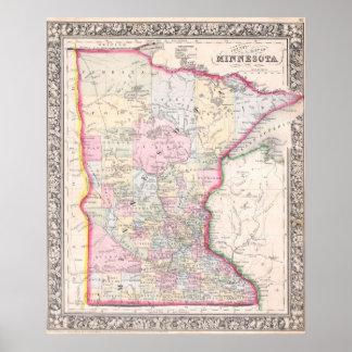 Mapa del vintage de Minnesota (1864) Póster