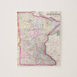 Mapa del vintage de Minnesota (1864) Rompecabezas Con Fotos