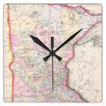 Mapa del vintage de Minnesota (1864) Reloj Cuadrado