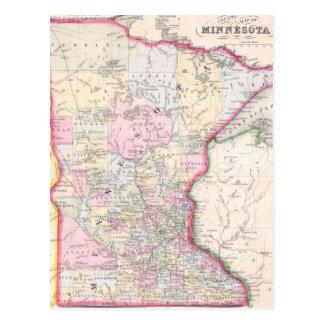 Mapa del vintage de Minnesota (1864) Postales