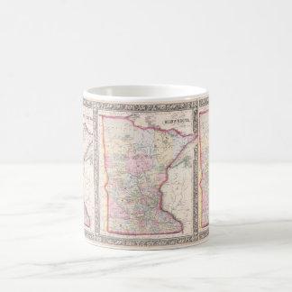 Mapa del vintage de Minnesota (1864) Taza Clásica